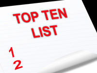 Top Ten List for Travel