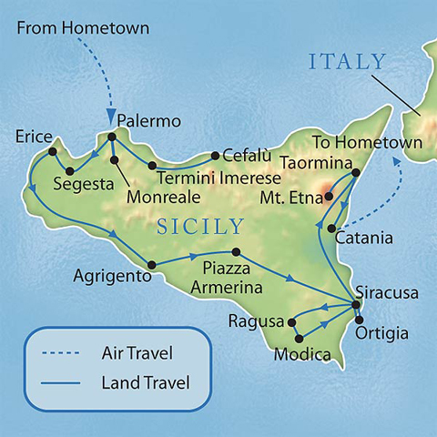 Sicily Italy Tour Map